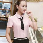 Set: Short-sleeve Pintuck Shirt + Pencil Skirt
