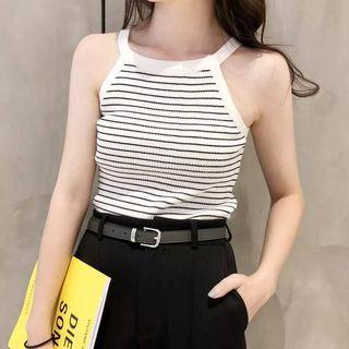 Pinstriped Knit Camisole Top