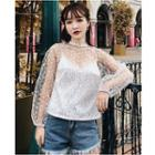 Set: Long-sleeve Lace Top + Spaghetti Strap Lace Top