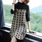 Long-sleeve Mock Neck Plaid Panel Knit Dress