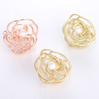 Faux Pearl Alloy Flower Hair Clamp
