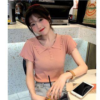 Short-sleeve Knit Placket Top