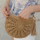 Tassel-detail Raffia Shoulder Bag