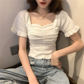 Short-sleeve Ruched Frill Trim Crop Top