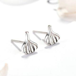925 Sterling Silver Leaf Stud Earrings 925 Silver - One Size
