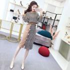 Set: Tweed Pullover + Midi Tweed Panel Skirt