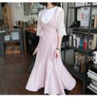 Ruffled Surplice-wrap Long Jumper Dress