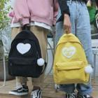 Heart Applique Corduroy Backpack