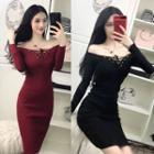 Lace Up Long-sleeve Knit Sheath Dress