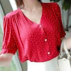 Shirred Dotted Blouse
