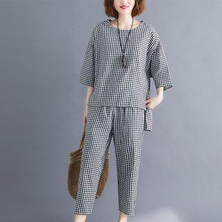 Set: 3/4-sleeve Gingham Top + Straight-leg Pants