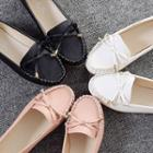 Bow Accent Faux-leather Flats