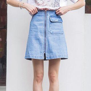 Zip Front A-line Denim Skirt