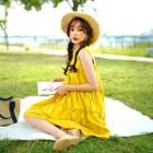 Sleeveless Frill-trim Tiered Dress