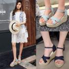 Denim Strap Wedge Espadrilles Sandals