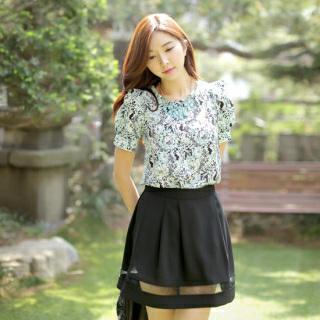 Mesh-panel A-line Skirt