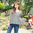 Square-neck Tie-back Gingham Top