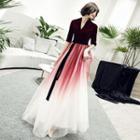 Elbow Sleeve V-neck Velvet Panel Gradient Evening Gown