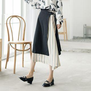 Striped Panel Midi A-line Skirt