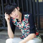 Floral Print Elbow-sleeve Shirt