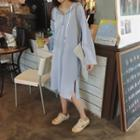 Plain Long-sleeve Hoodie Dress