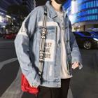 Lettering Applique Ripped Denim Jacket