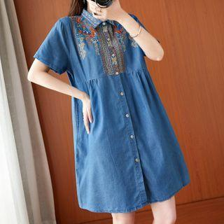 Short-sleeve Floral Embroidered Denim Shirtdress