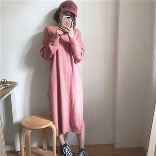 Long-sleeve Slit-side Midi Knit Dress