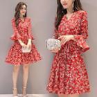 Floral Print Elbow-sleeve Minidress