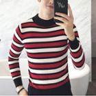 Striped Slim-fit Mock-neck Sweater