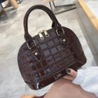 Patent Croc Grain Handbag