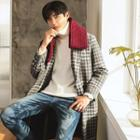 Two-button Plaid Wool Blend Coat
