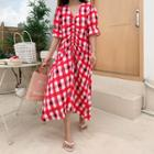 Shirred-front Check Dress Red - One Size