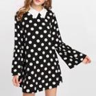 Dotted Long-sleeve Collared Top