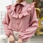 Ruffled Striped Long-sleeve Shirt