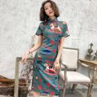 Printed Short-sleeve Qipao Blue - S