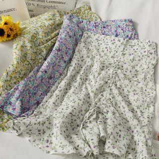 Floral Drawstring Mini Skirt