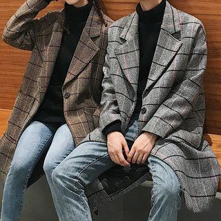 Couple Matching Plaid Single-buttoned Coat