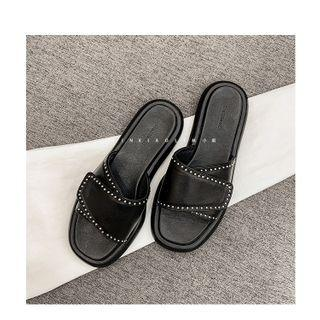 Self Adhesive Faux Leather Slide Sandals