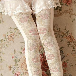 Leaf Print Tights White - One Size