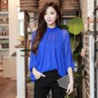 3/4 Sleeve Frill-trim Sheer Top