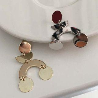 Metallic Disc-dangle Earrings