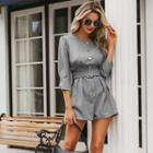 3/4-sleeve Buttoned Playsuit