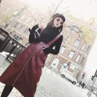 Faux Leather Midi Suspender Skirt