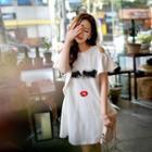 Cutout-shoulder Applique Dress