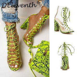 Lace-up Peep-toe Chunky Heel Short Boots