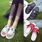 Mesh Platform Slide Sandals