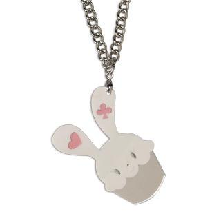 Sweet White Bunny Cupcake Of Heart Silver Necklace