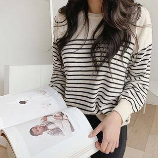 Wool Blend Striped Knit Top