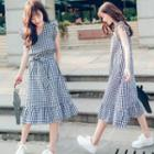 Gingham Sleeveless Midi A-line Dress With Sash
